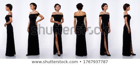 Vista lateral largo vestido de noche jóvenes moda Foto stock © feedough