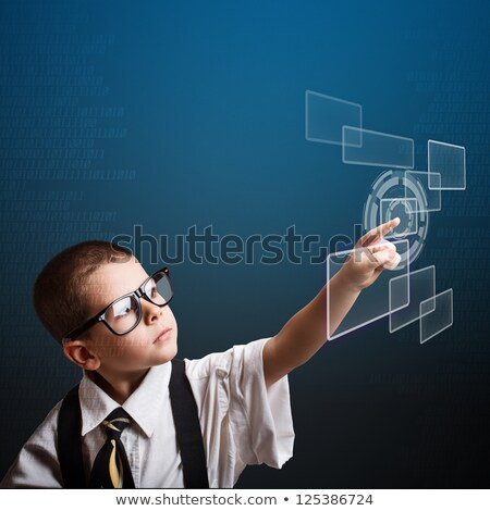 Child touching a button on a touchscreen Stock photo © REDPIXEL