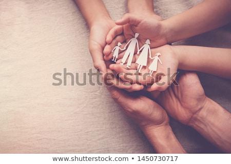 Papír család kezek izolált kék ég tavasz Stock fotó © oly5