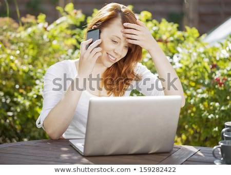 сидят ноутбук женщины студент скучно Сток-фото © Cursedsenses