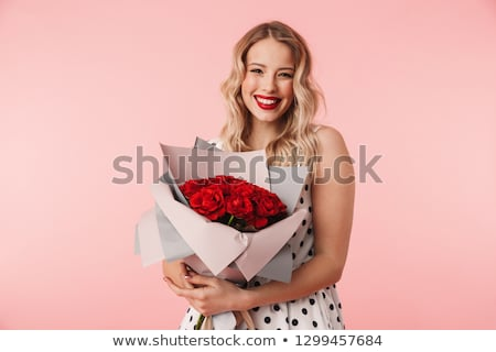 Foto stock: Hermosa · morena · mujer · ramo · rosas · rojas · flores