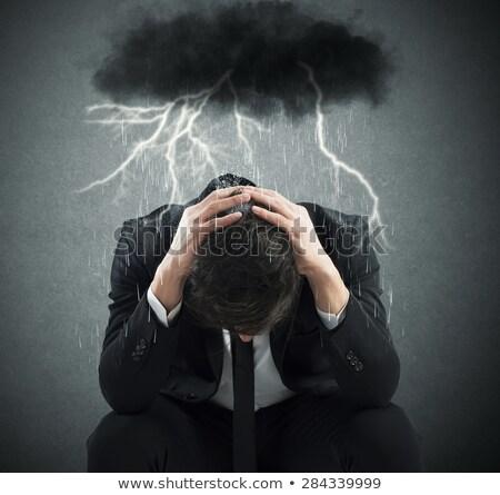 Stress, depression and despair - gloomy storm cloud raining abov Stock photo © hasloo