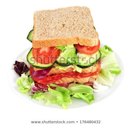 Stok fotoğraf: Sandviç · sebze · İspanyolca · chorizo · arka · plan · ekmek