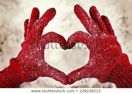 красный перчатка любви рук форме формы сердца Сток-фото © songbird