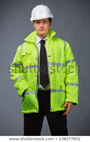 Groene vest geïsoleerd witte bouw oranje Stockfoto © shutswis