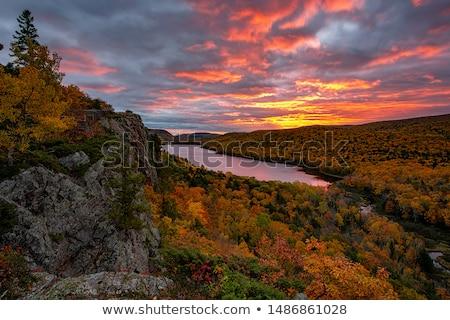 Fall Clouds over a Wilderness Lake Stock photo © wildnerdpix