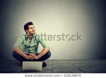 homem · estudante · usando · laptop · sessão · escada · ao · ar · livre - foto stock © nejron