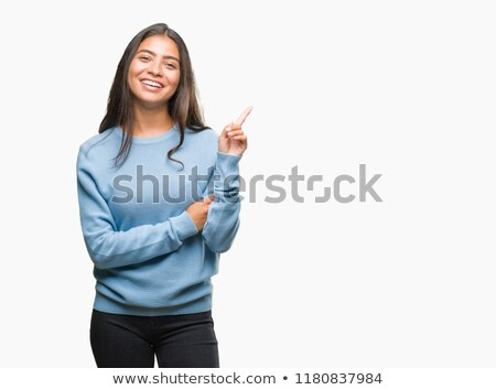 Indian young woman pointing Stock photo © bmonteny