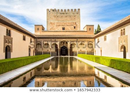 Alhambra Courtyard Myrtles Fountain Pool Reflection Granada Anda Stock photo © billperry