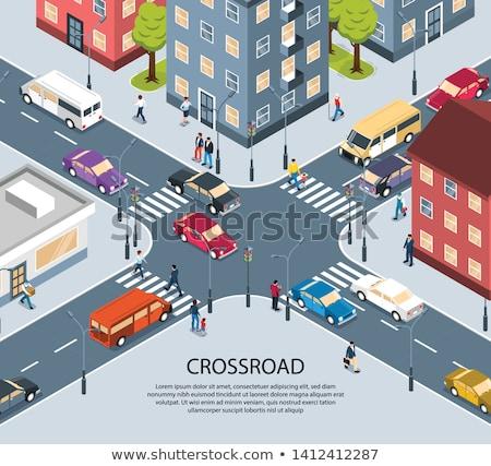 Dört yol trafik ışıkları sokak cam kırmızı Stok fotoğraf © mayboro1964