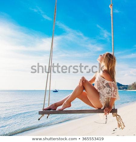 Mulher bonita tropical férias em pé azul água Foto stock © dash
