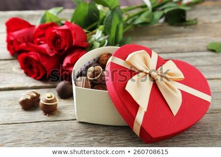 Színes piros ajándék csokoládé virágok dekoratív Stock fotó © ozgur