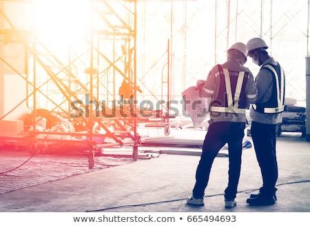 Kéz kulcsok építkezés ipari nő ház Stock fotó © cherezoff