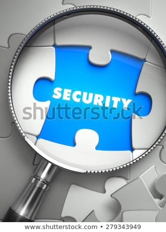 Bezpieczeństwa puzzle miejsce brakujący sztuk tekst Zdjęcia stock © tashatuvango