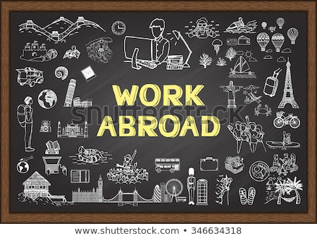 Hand Drawn Studying Abroad Concept on Chalkboard. Stock photo © tashatuvango