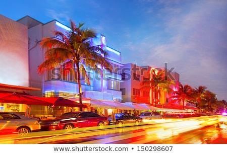 Elmosódott éjszaka színes fények Miami tengerpart Stock fotó © lunamarina