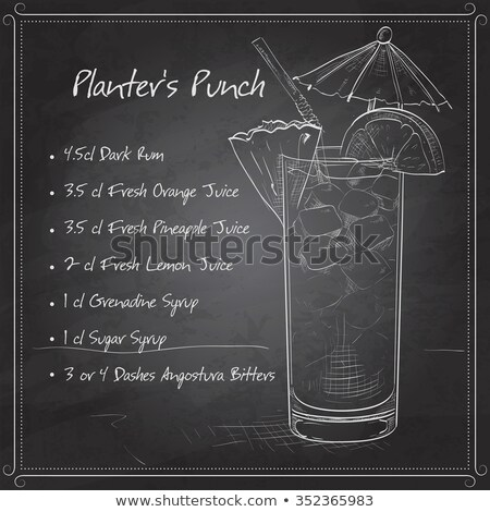 planter punch cocktail on black board stock photo © netkov1