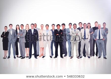 három · vidám · üzletemberek · öltöny · áll · fehér - stock fotó © Paha_L