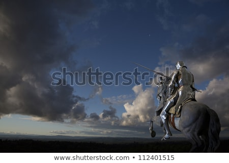 Stock photo: Medieval Knight On Black Horse