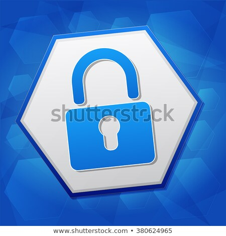 padlock sign in hexagon over blue background, flat design Stock photo © marinini