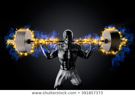 Emotional bodybuilder with burning barbell Stock photo © Kirill_M