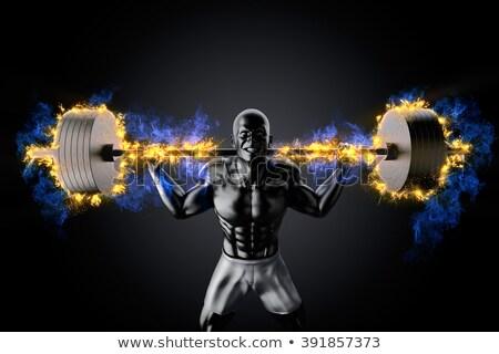 спортсмен · штанга · изолированный · белый · стороны · спортзал - Сток-фото © kirill_m