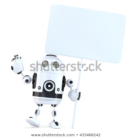 happy cheerful robot with blank board 3d illustration isolated stock photo © kirill_m