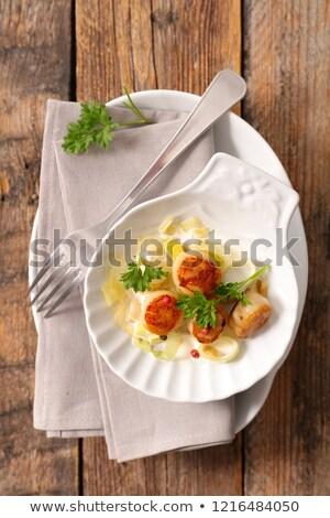 fried scallop and leek stock photo © m-studio