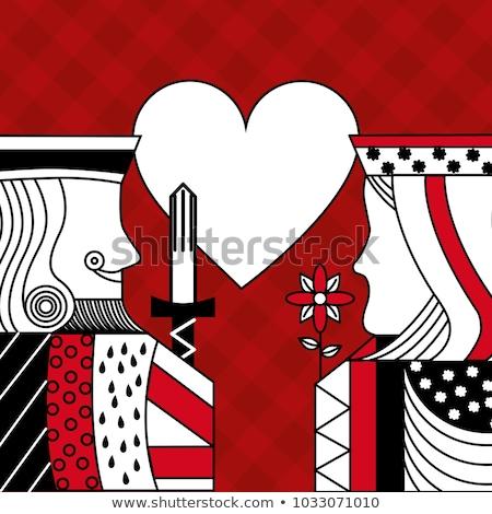 Királynő szív lány kártya illusztráció szexi Stock fotó © DzoniBeCool