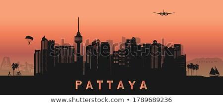 panorama of pattaya silhouette skyline stock photo © stoonn