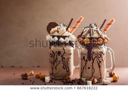 Chocolade milkshake oude houten koffie glas Stockfoto © Yatsenko