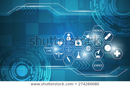 medical health care pharmacy concept template design in blue col Stock photo © SArts