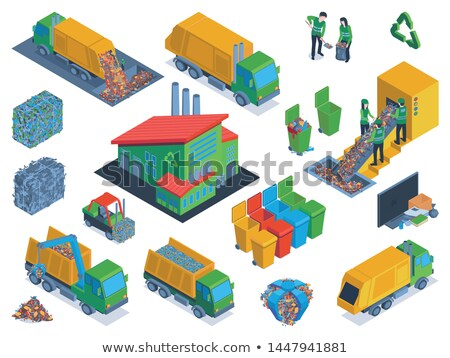 Metal container for garbage in isometric, vector illustration. Stock photo © kup1984