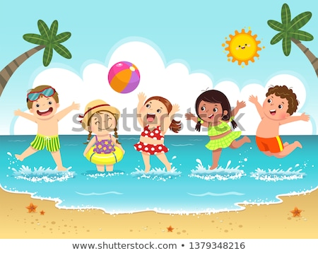 boldog · gyerek · ugrik · tengerpart · nyári · vakáció · ünnep - stock fotó © goce