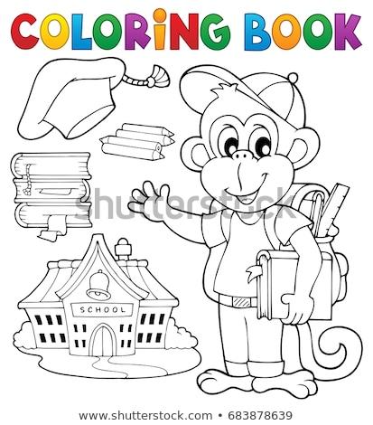 Kleurboek school aap boek potlood kunst Stockfoto © clairev