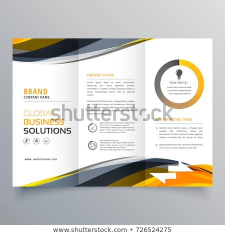 tri fold business brochure design template with wavy yellow blac Stock photo © SArts