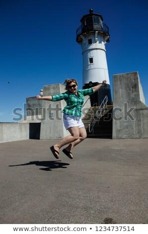 mulher · farol · bela · mulher · turista · férias · histórico - foto stock © is2
