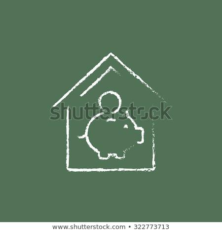 Kézzel rajzolt költségvetés zöld tábla firka ikonok Stock fotó © tashatuvango