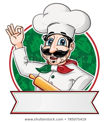 italian chef inside a circle with blank banner stock photo © doomko