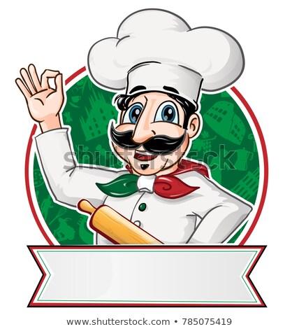 итальянский повар внутри круга баннер счастливым Сток-фото © doomko