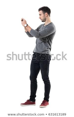 Férfi elvesz fotó rózsa virág mobiltelefon Stock fotó © grafvision