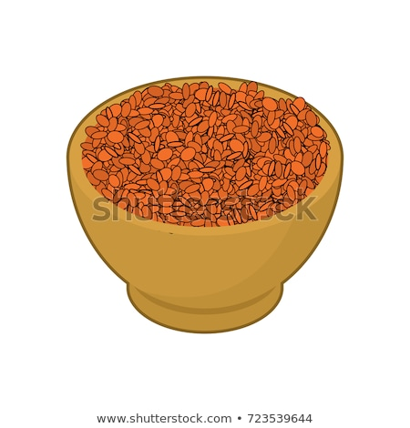 Red lentils in wooden bowl isolated. Groats in wood dish. Grain  Stock photo © MaryValery