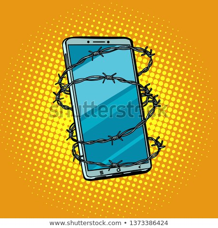 Barbed wire and telephone. concept of freedom online Internet ce Stock photo © studiostoks