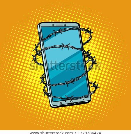 Dikenli tel telefon özgürlük çevrimiçi Internet sansür Stok fotoğraf © studiostoks