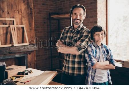 Stolarka klasy projektu chłopca kolor chłopców Zdjęcia stock © monkey_business