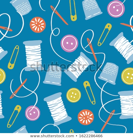 thread with a thimble and button stock photo © oleksandro