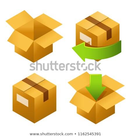 Izometrikus karton dobozok szett ikonok házhozszállítás Stock fotó © MarySan