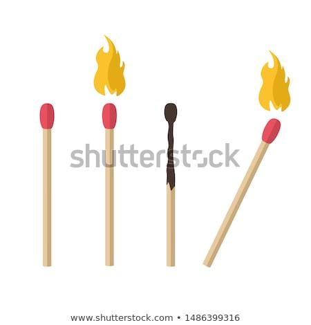 A set of cartoon matches. Burned match. Burning match stock photo © Natali_Brill