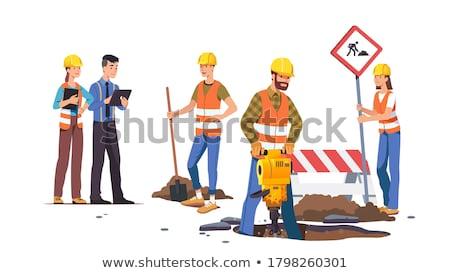 woman road worker builder with jackhammer stock photo © studiostoks