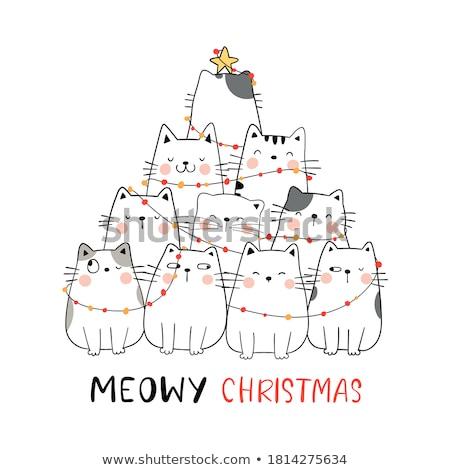 cat christmas tree vector stock photo © beaubelle